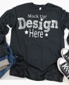 Black Heather Long Sleeve Shirt Mockup Bella Canvas 3501 Etsy