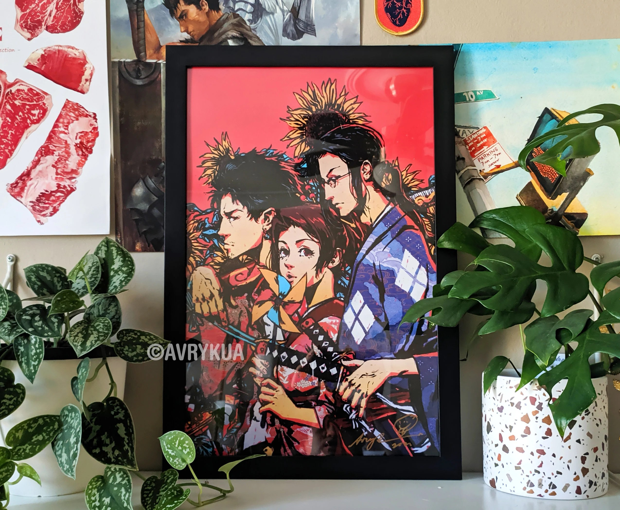 samurai champloo poster 12 x 18 illustration wall art poster print anime art fine art print poster swords manga jin mugen fuu