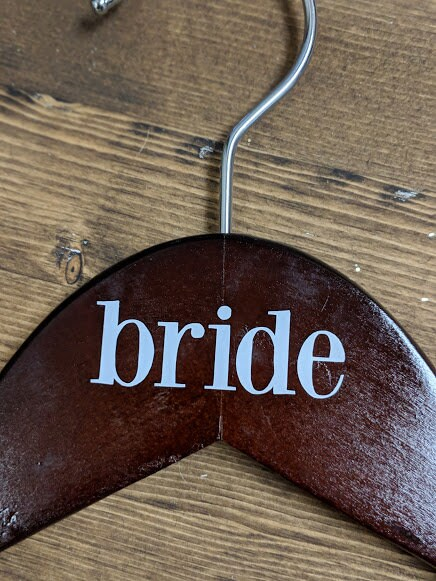 Dark Wood Bride Hanger  Vinyl Lettering Multiple Colour image 5