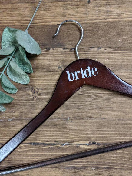 Dark Wood Bride Hanger  Vinyl Lettering Multiple Colour image 1