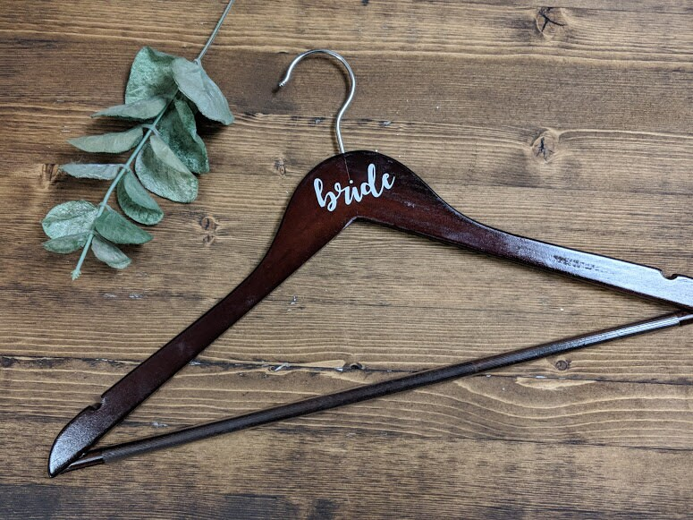Dark Wood Bride Hanger  Vinyl Lettering Multiple Colour image 4