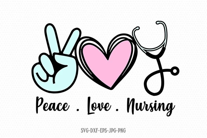 Download Peace Love Nursing svg Nursing svg Peace Love SVG Hand | Etsy