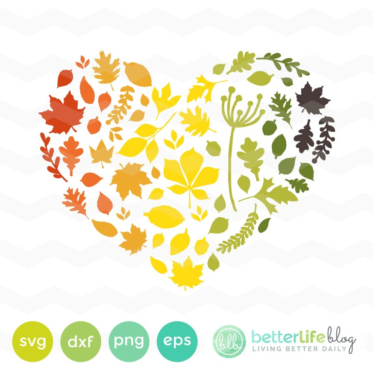 Autumn Leaves Heart SVG F...
