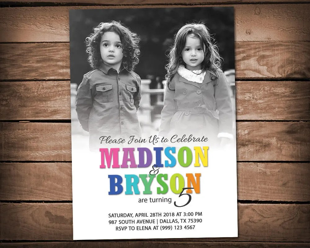 twins birthday party invitation sibling