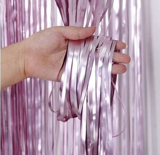 matte lilac fringe party backdrop curtains tinsel fringe foil curtain birthday backdrop party decor gold photo backdrop shower decor
