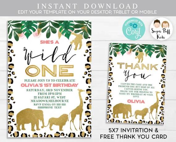 girls wild one invitation instant