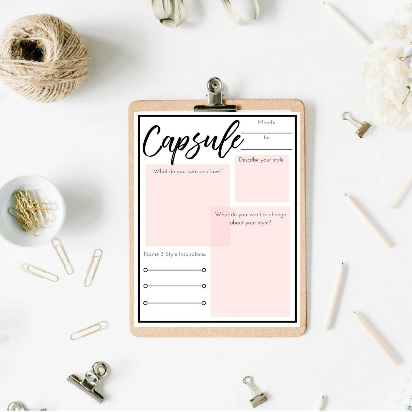 Capsule Wardrobe Planning Worksheet Bundle Digital Prints