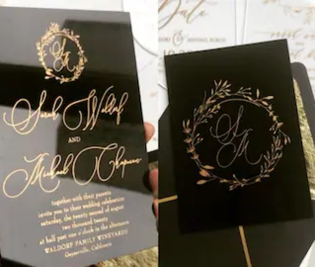 Black Acrylic Gold Wedding Invitation Clear Perspex Double Sided Modern Wreath Envelope Liner Printed Calligraphy Gold Foil Envelope Invite