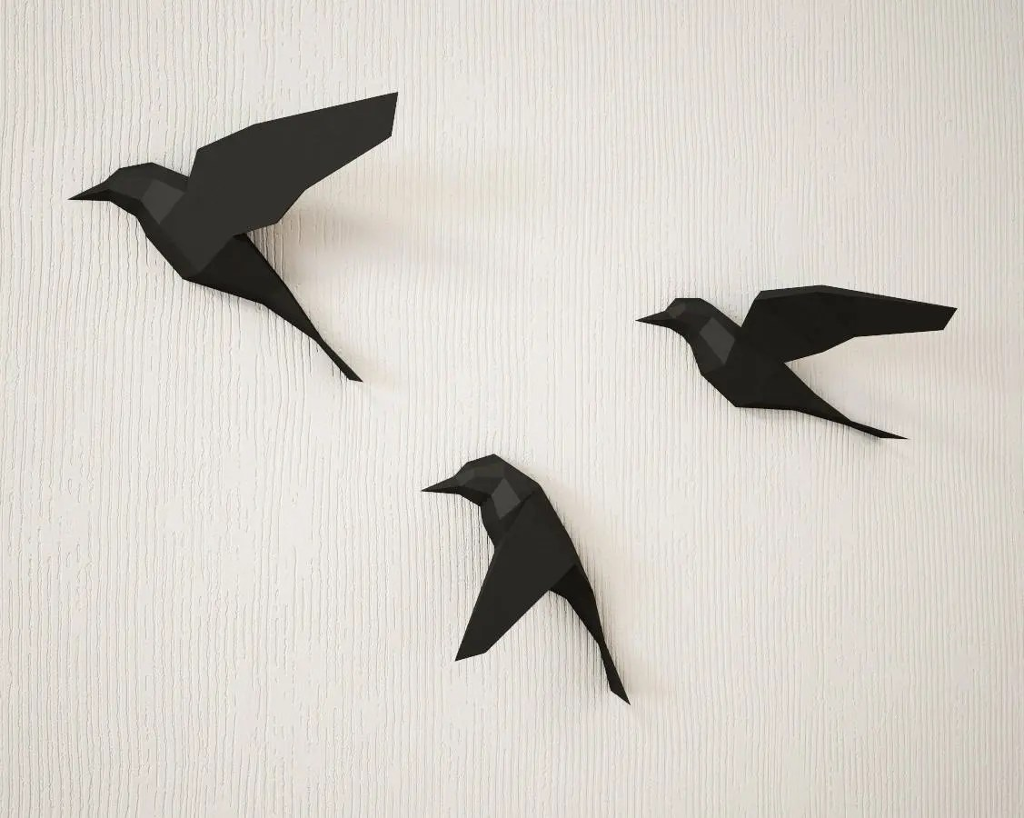 DIY Paper Birds On Wall 3D Papercraft Easy Paper Model Etsy