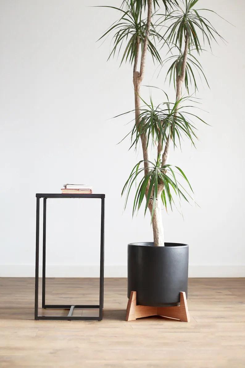 Large Mid Century Modern Planter With Apollo Wood Plant Stand 12 Ceramic Set