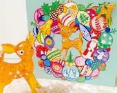 Vintage Bambi deer bauble wreath Christmas card & enamel pin