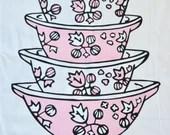 Vintage Pink Pyrex Gooseberry Cinderella 100% cotton tea towel - Large Stack