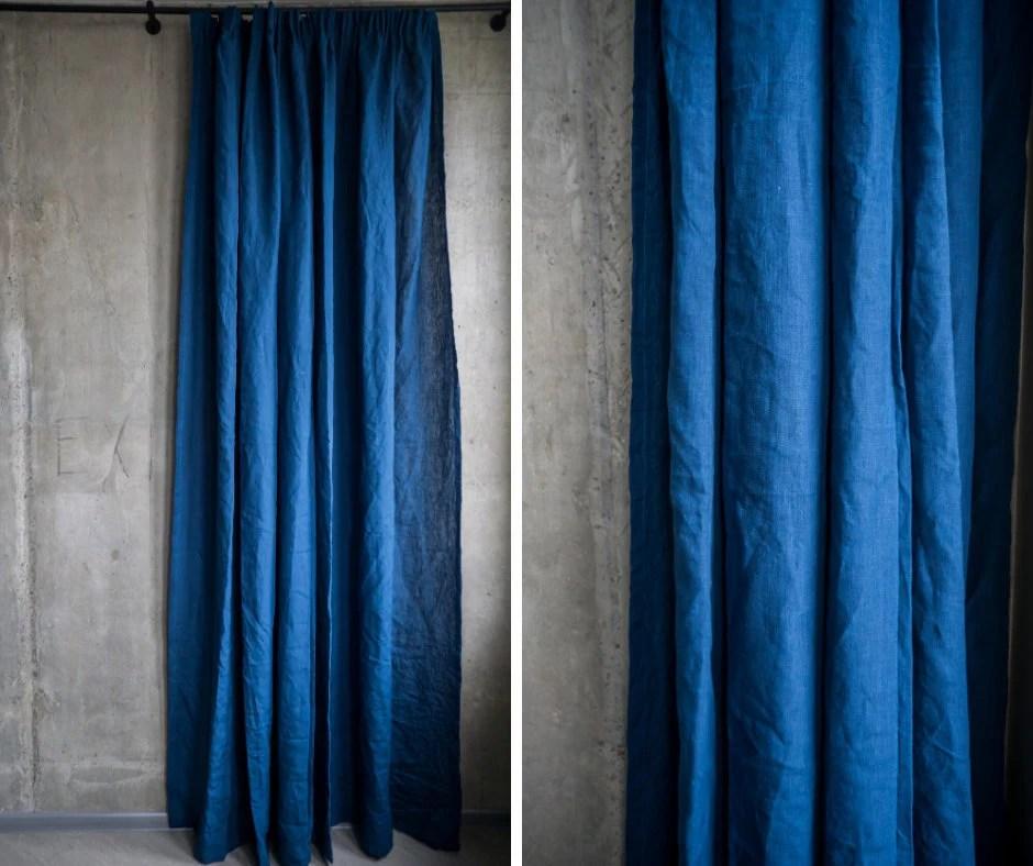navy blue linen curtains royal blue linen fabric drapery organic window panel