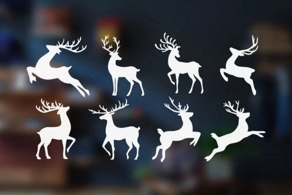 White Reindeer Stickers