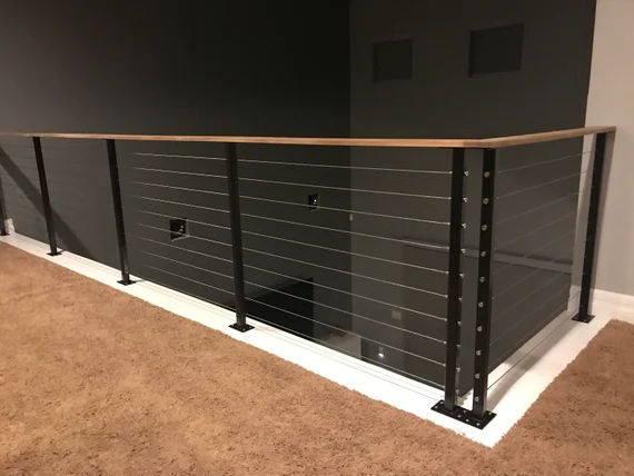 Cable Deck Railing Posts For Sale Stainless Steel Cable Etsy | Modern Cable Stair Railing | Entry Foyer | Staircase Remodel | Stair Treads | Glass Railing | Deck Railing