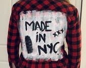 Upcycled Flannel - Handpainted Red & Black Made In NYC