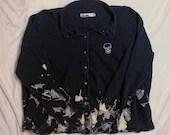 Upcycled Black Acid Wash Denim Shirt w/ Skull Embroidery