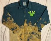 Upcycled Green Acid Wash Denim Shirt w/ Cactus Embroidery