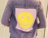 Upcycled Purple Acid Wash Denim Shirt - Pink & Yellow Smiley
