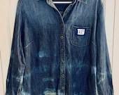 Upcycled Tie Dyed Banana Republic Denim Shirt - Blue NY Giants #13