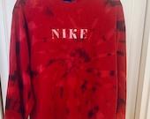 Upcycled Tie Dye Red J. Crew Crewneck Sweatshirt w/ Faded NIKE Lettering