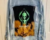 Upcycled Tie Dye Old Navy Denim Shirt - Bud Light Alien