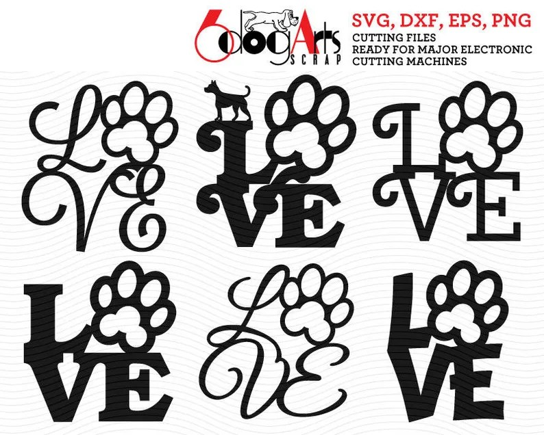 Download Dog Pet Love Digital Cut Files SVG DXF Vector Cuttable | Etsy