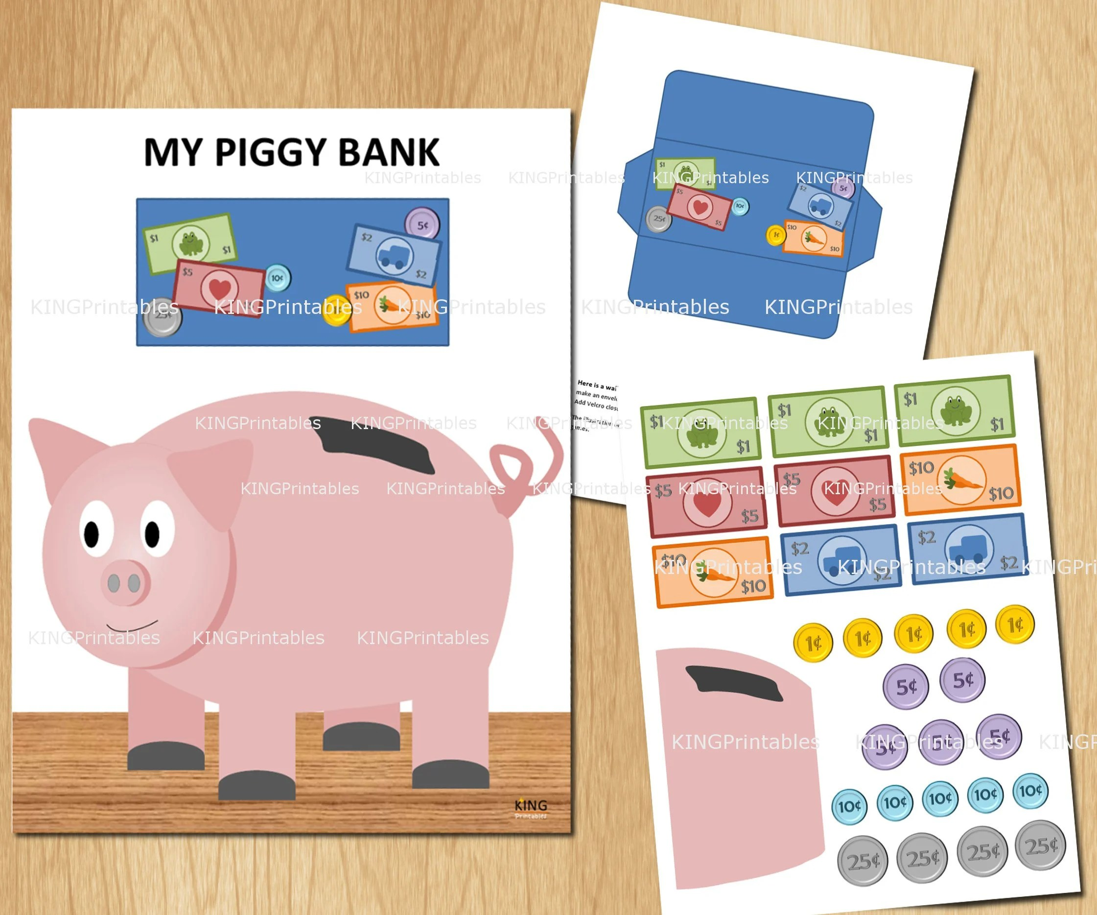 Toddler Piggy Bank Printable Money Educational Toys