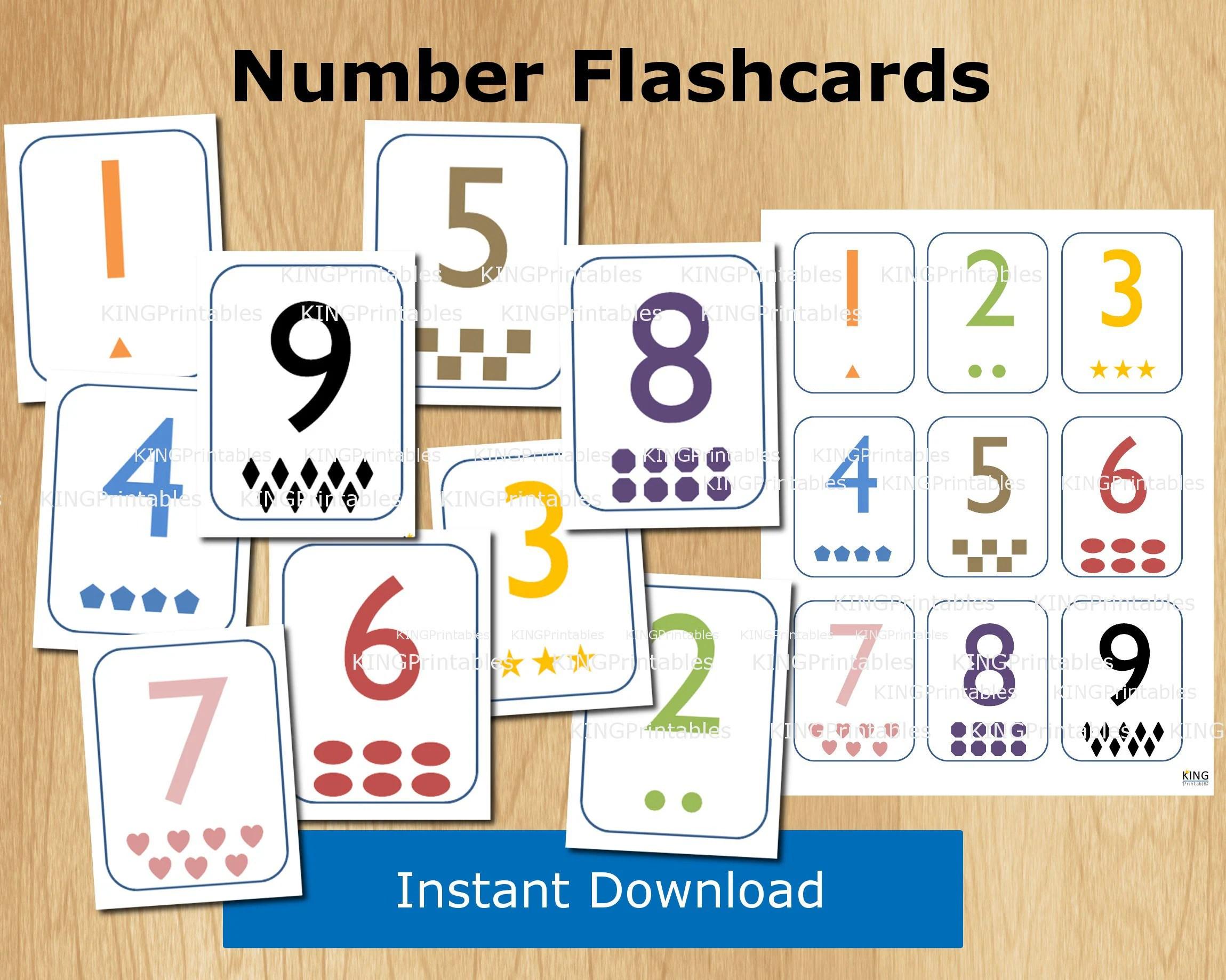 Number Flash Cards Printable Educational Toddler Toys Diy