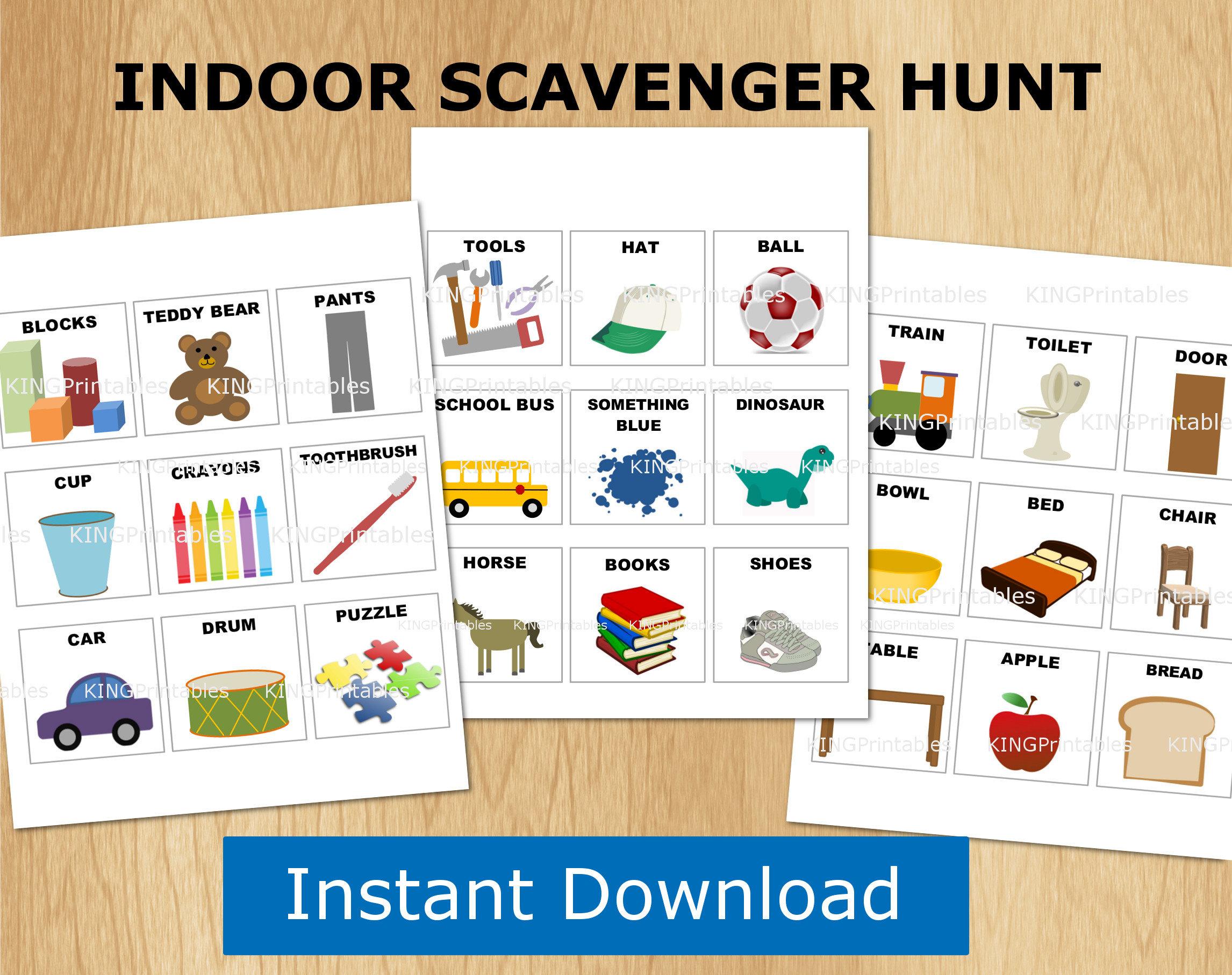 Indoor Scavenger Hunt Kids Printables Preschool Games
