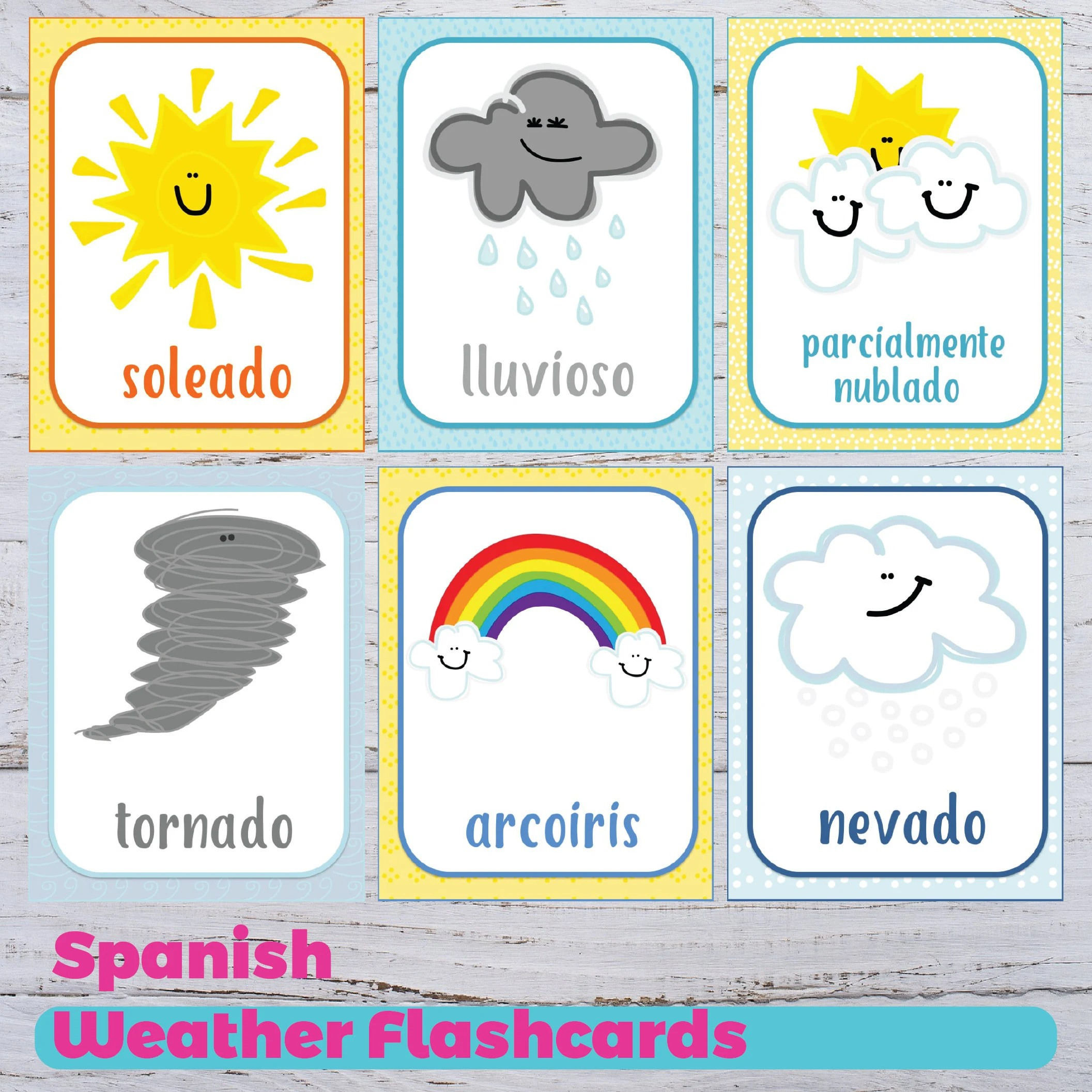 Weather Flashcards Spanish Weather Flashcards Printable