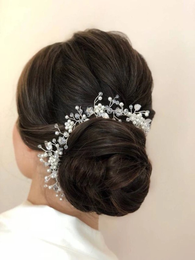 floral comb floral wedding hair clip bridal hair comb bridal headpiece crystal floral double comb silver wedding clip
