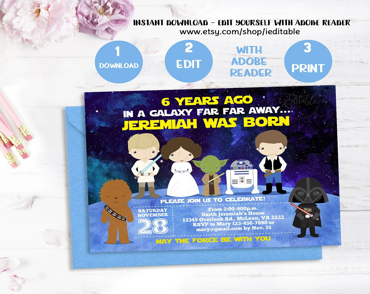 star wars birthday invitations etsy