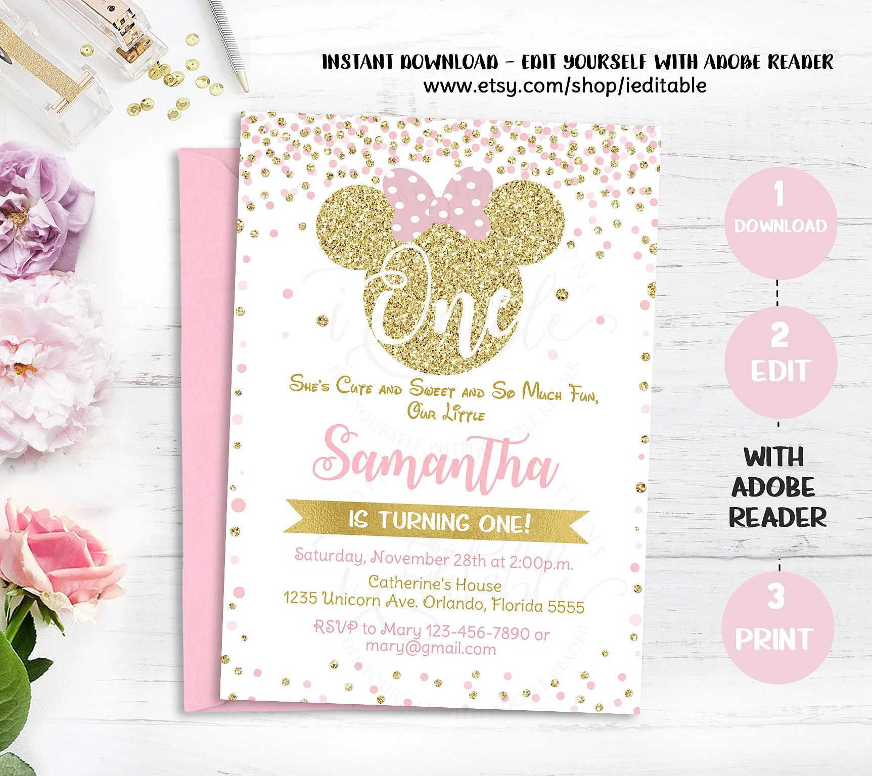 pink and gold minnie mouse 1st birthday
