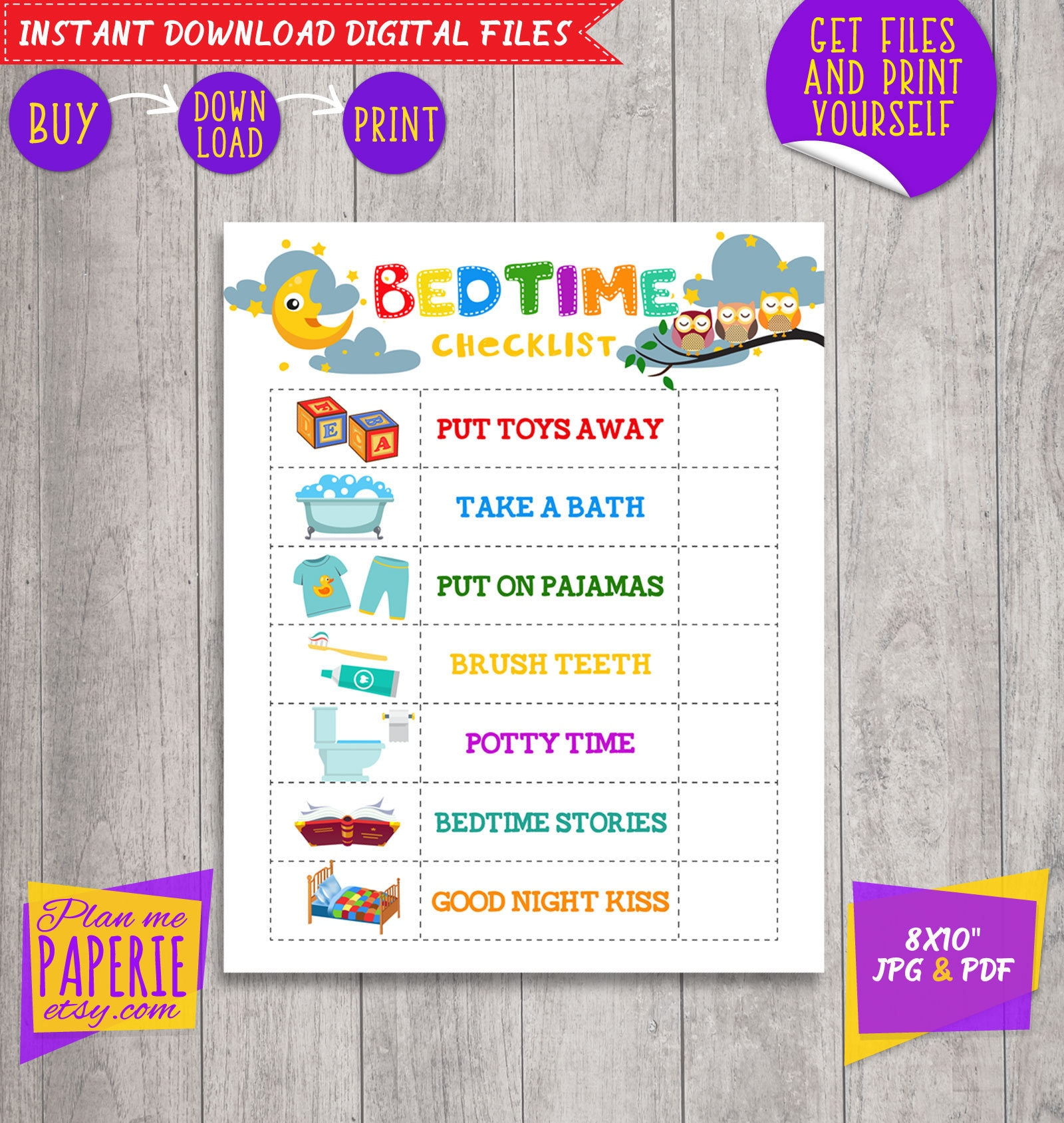 Bedtime Checklist Bedtime Routine Chart Kids To Do Bedtime