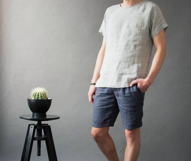 Mens Linen T Shirt Loose Linen Shirt Round Neck Shirts Summer Linen Shirts