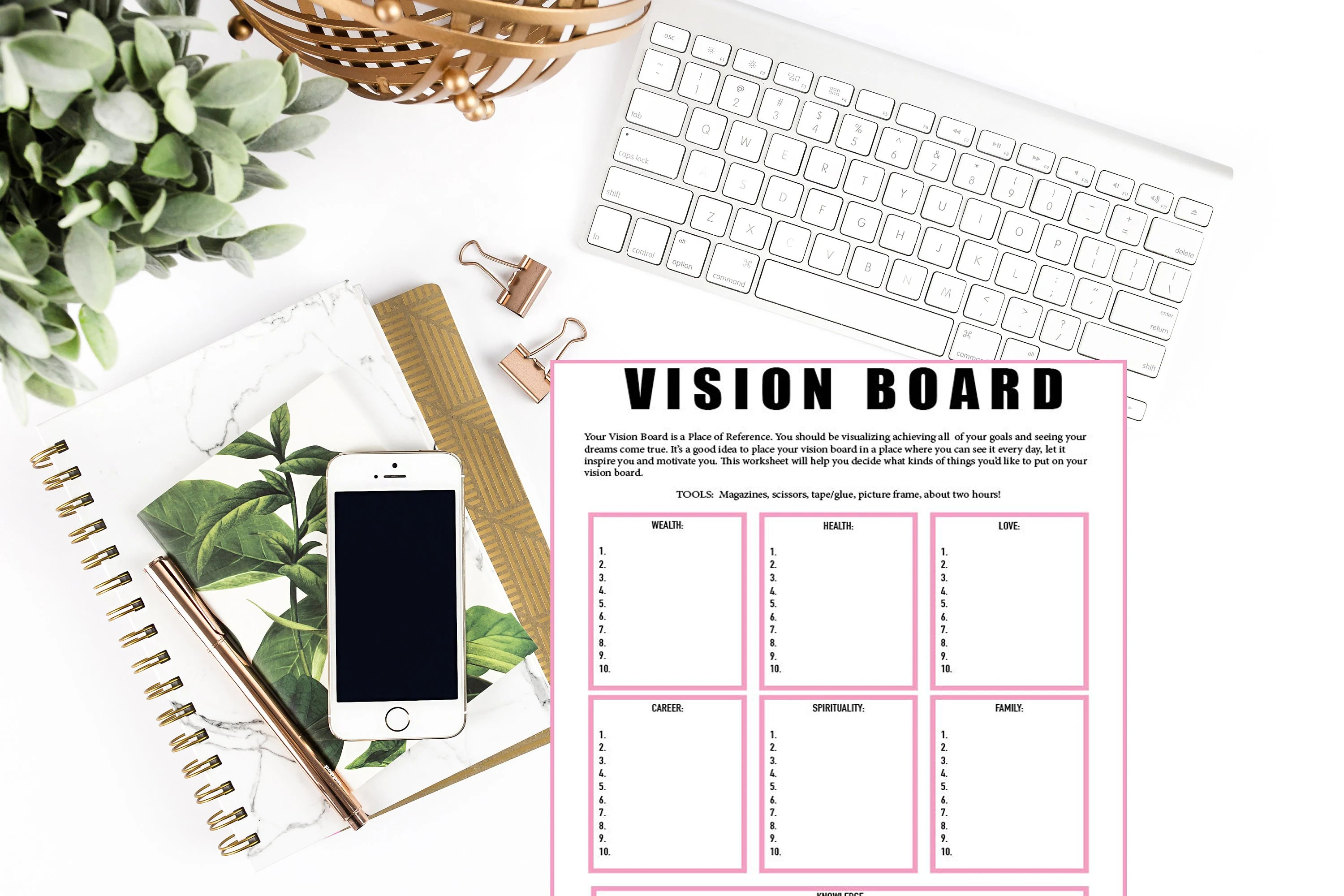 Vision Board Worksheet Vision Board Checklist Law Of