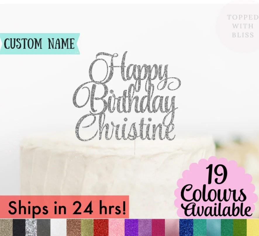 Custom Happy Birthday Cake Topper Happy Birthday Name Cake image 2