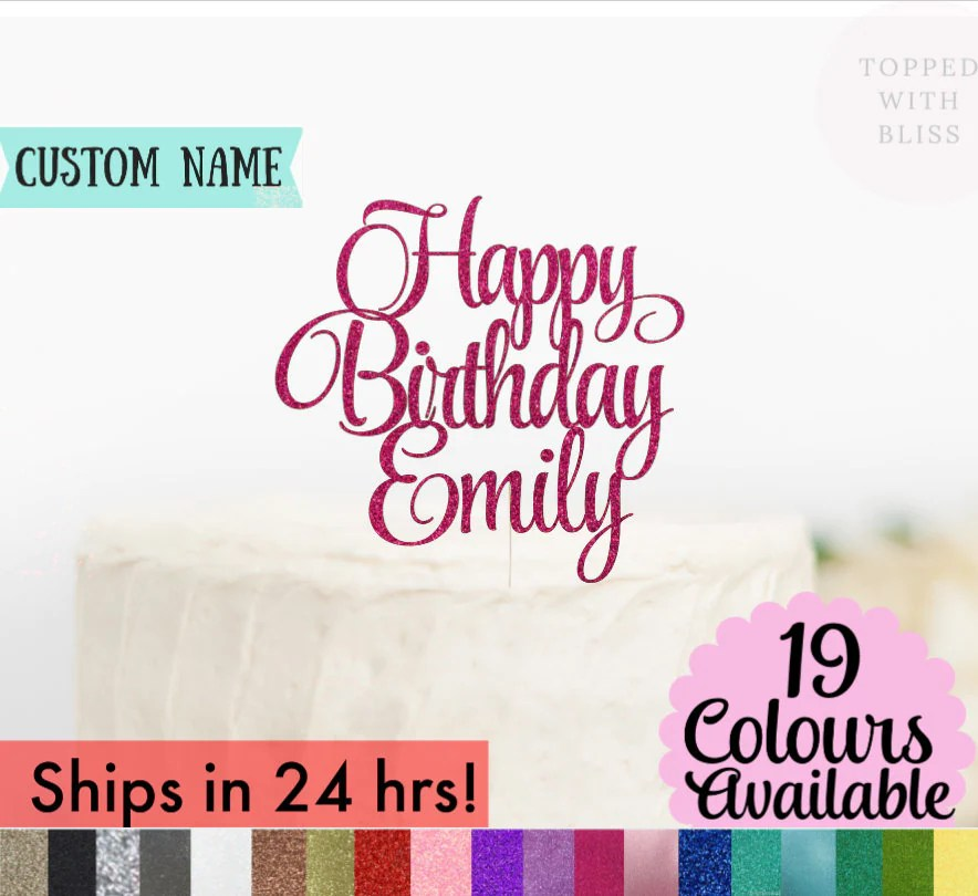 Custom Happy Birthday Cake Topper Happy Birthday Name Cake image 3