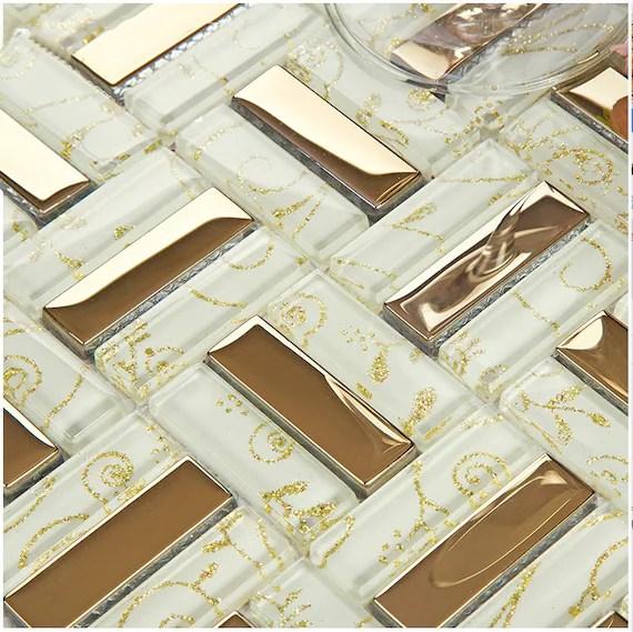 white and gold glass tiles backsplash etsy