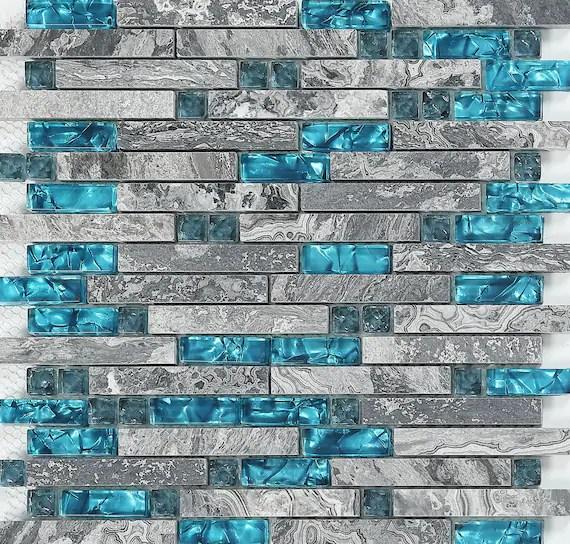 Gray Marble Backsplash Wall Tiles Teal Blue Glass Bathroom
