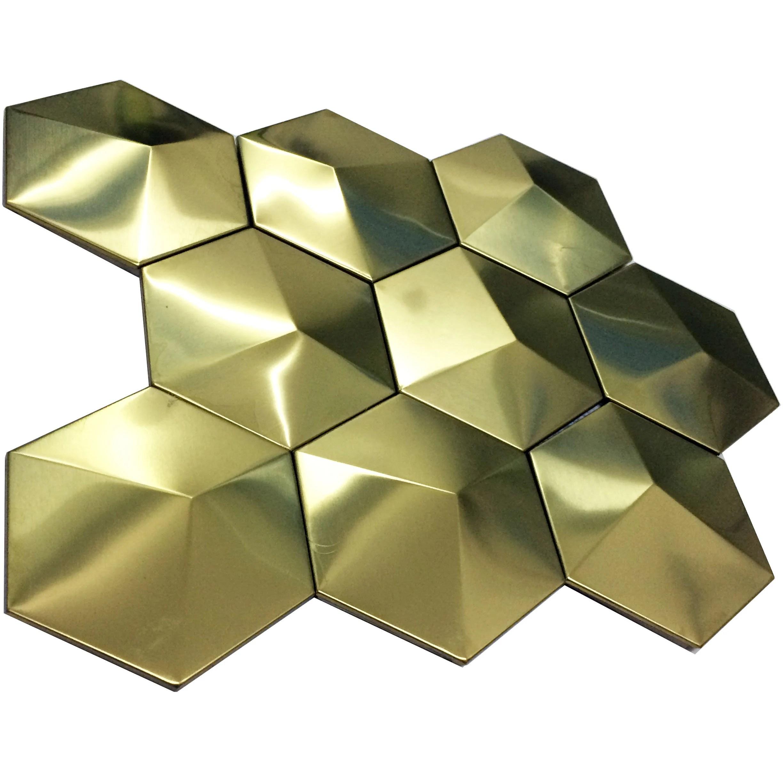 gold stainless steel accent tile xgmt002 11 4 x11 4 per sheet big hexagon 3d pyramid bathroom wall tiles metal mosaic kitchen backsplash