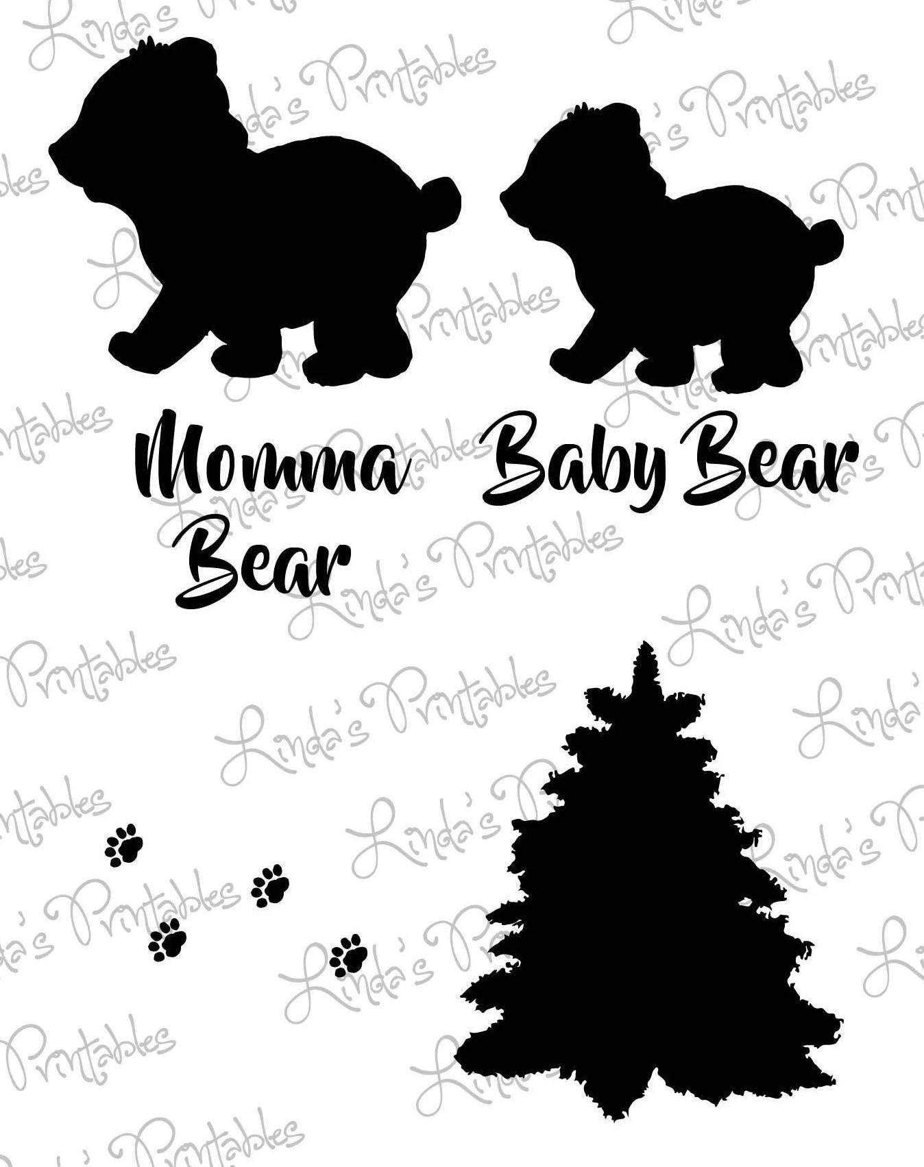 Woodland Clipart Set Baby Bear Svg Momma Bear Svg Paw