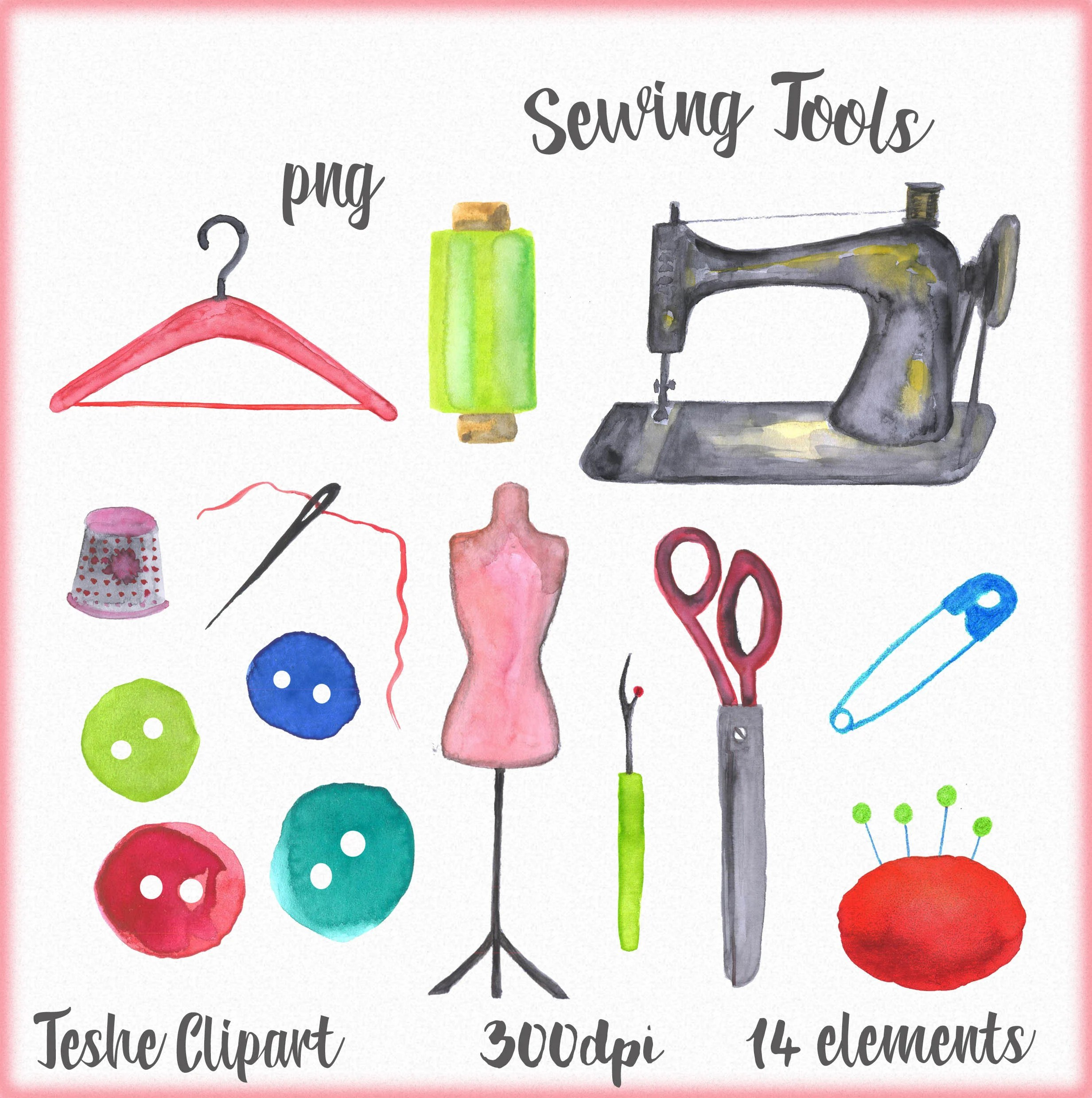 Sewing Clipart Sewing Tools Clipart Hand Painted Sewing