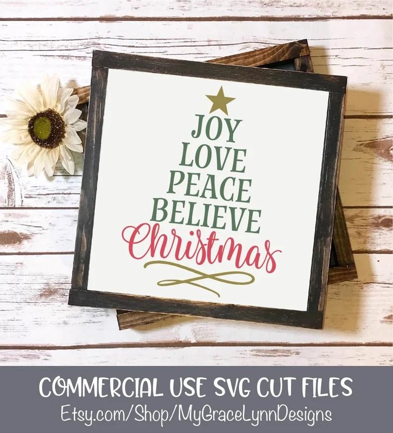 Download Joy Love Peace Believe Christmas SVG Cut File Christmas   Etsy