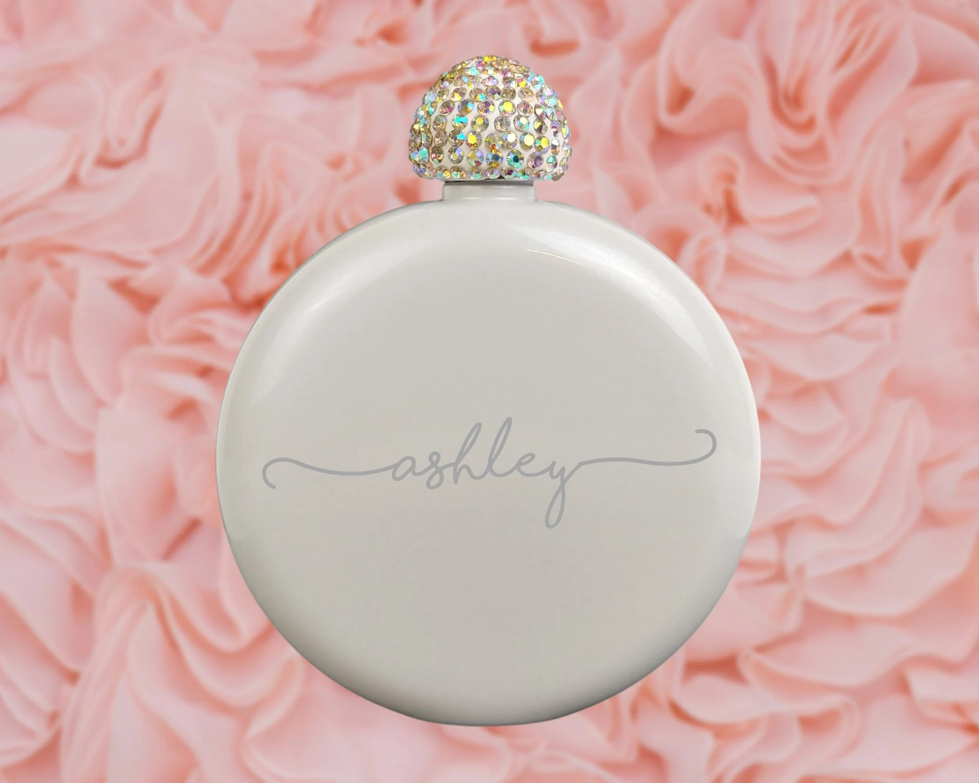 Flask for Women Engraved Flask Bridesmaid Gift Personalized White