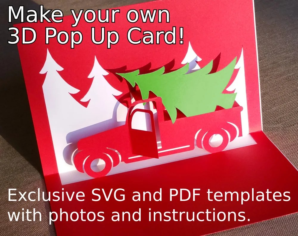 24514 best merry christmas card 3d ✓ free vector download for commercial use in ai, eps, cdr, svg vector illustration graphic art design format. Christmas Truck Popup Card Template Svg Pdf For Cricut Etsy