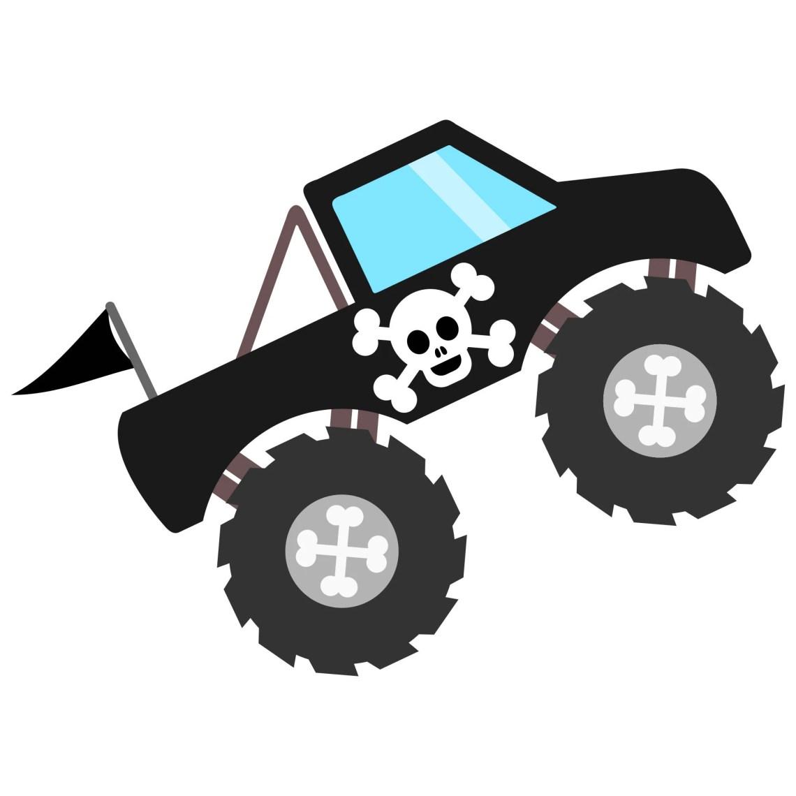 Download Black Pirate Monster Truck SVG File with Skull & Bones ...