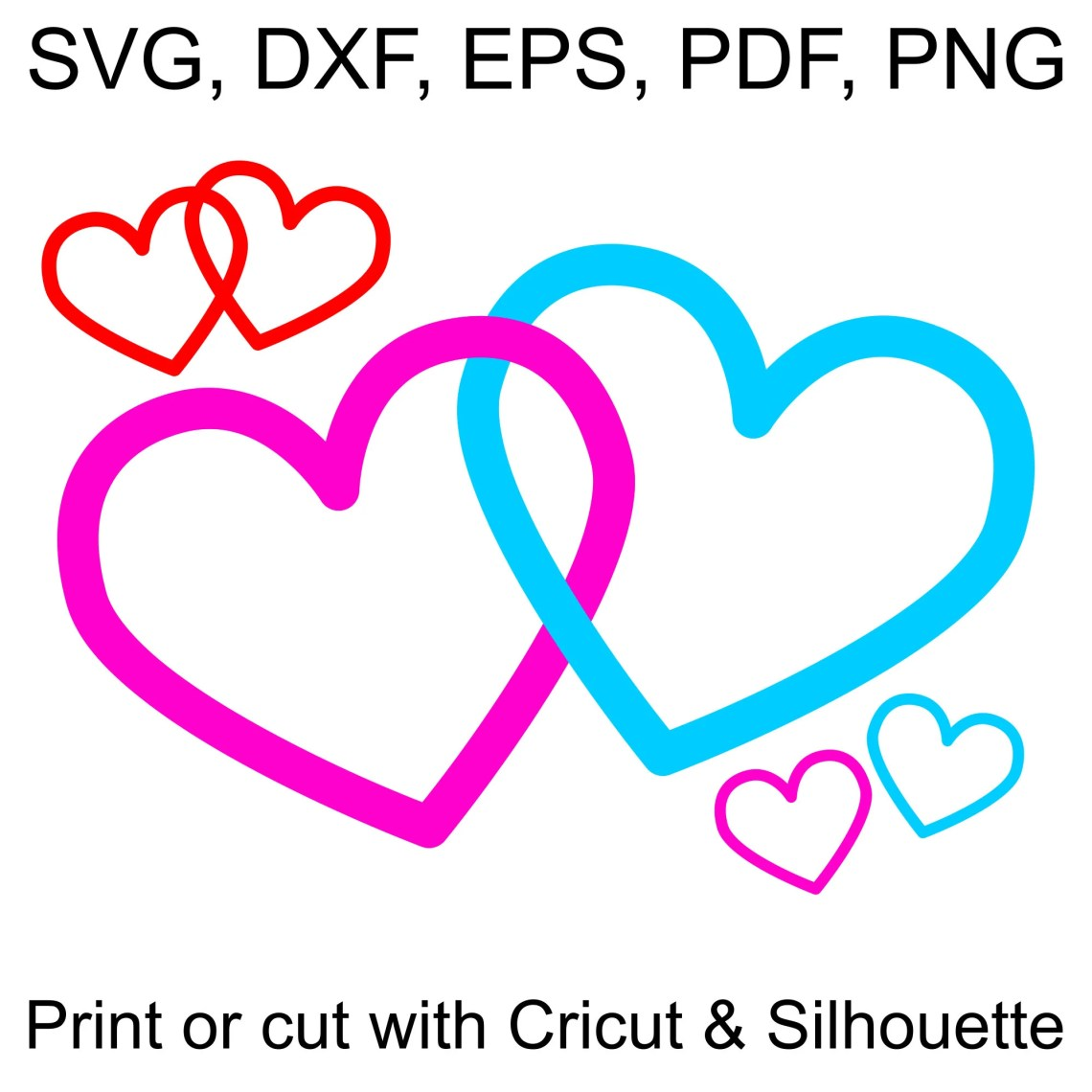 Download Interlocking Hearts SVG file, with 2 Joined Hearts to ...