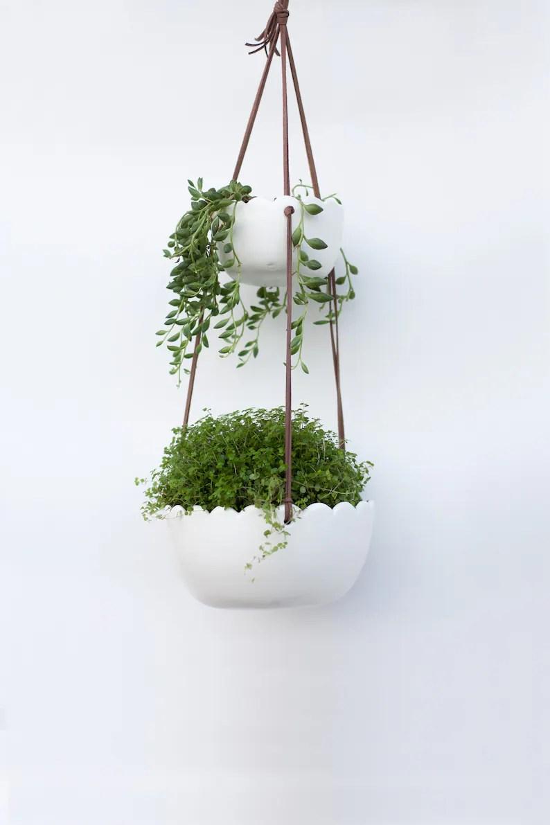 Double ceramic hanging planter indoor Wall Planter Plant ... on Hanging Plant Pots Indoor  id=16307